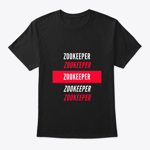 Zookeeper Red And White Design Black T-Shirt Front