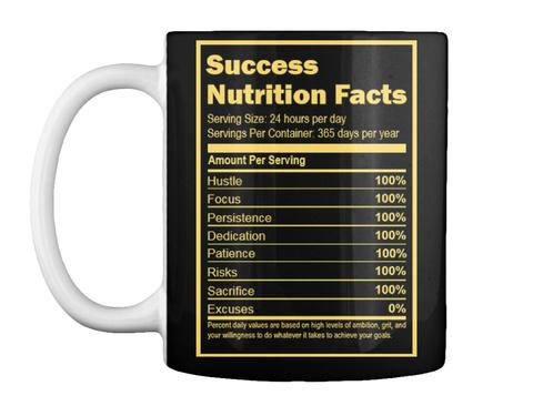 Success Mug | Nutrition Facts Black T-Shirt Front