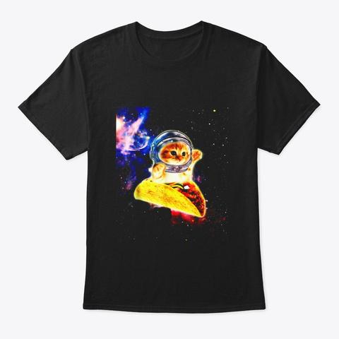 Crazy Space Taco Cat Funny T Shirt Black T-Shirt Front
