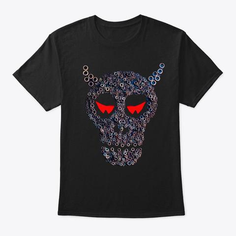 Evil Skull Mechanical Halloween Monster  Black T-Shirt Front