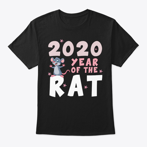 Happy New Year 2020 Year Of The Rat Black T-Shirt Front