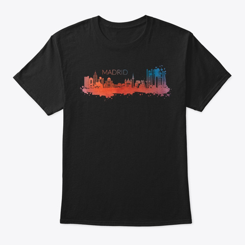 Lovely Madrid Skyline Watercolor Style Black T-Shirt Front