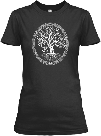 Tree Of Life With Om Symbol Yoga T Shirt Black T-Shirt Front