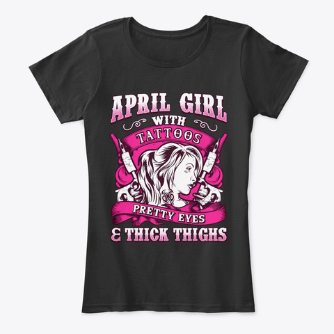 April Girl With Tattoos And Pretty Eyes Black T-Shirt Front
