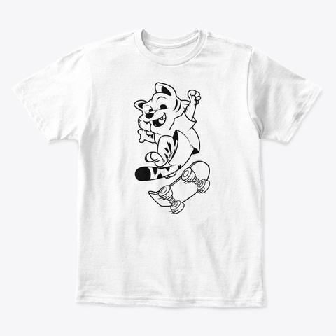 Cool Skateboarding Tiger White T-Shirt Front