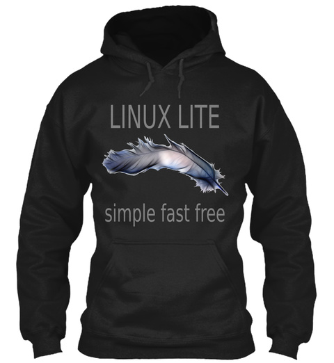 Linux Lite Simple Fast Free Black Sweatshirt Front