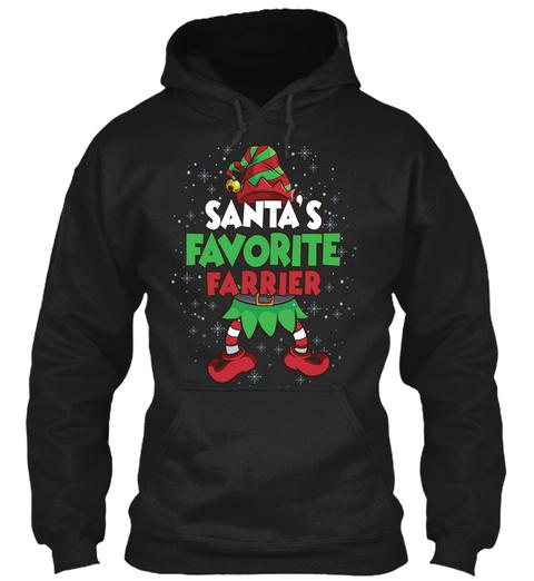 Santa's Favorite Farrier Black T-Shirt Front