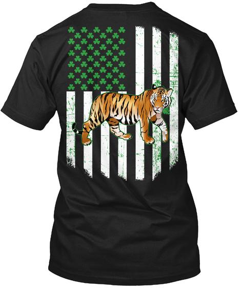 Irish American Flag Green Shamrock Tiger Black T-Shirt Back