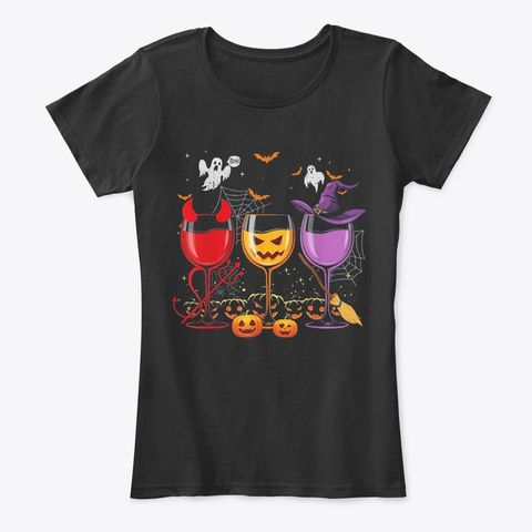 Three Glasses Of Wines Shirt Funny Hallo Black T-Shirt Front