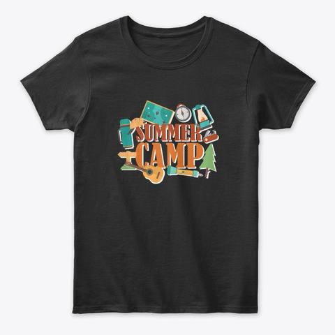 Summer Camp Tees Black T-Shirt Front