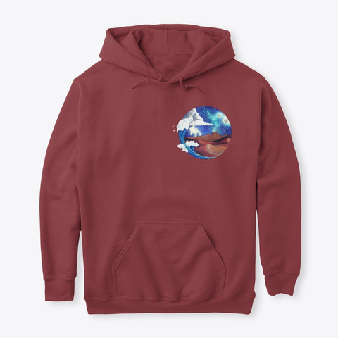 Desert And Sea Watercolor Maroon T-Shirt Front