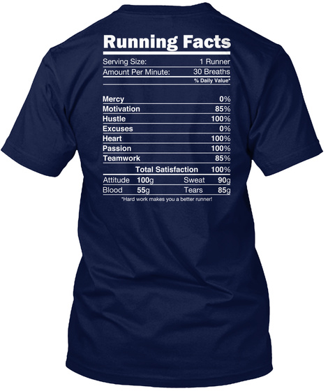 Running Facts Serving Size: 1 Runner Amount Per Minute: 30 Breaths % Daily Value* Mercy 0% Motivation 85% Hustle... Navy T-Shirt Back