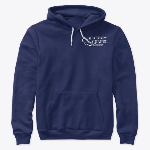 Premium Hoodie Navy T-Shirt Front