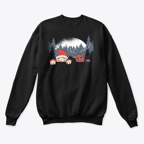 Christmas Santa And Reindeer Black T-Shirt Front