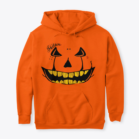 Happy Hoo Loween Hoodie Safety Orange T-Shirt Front