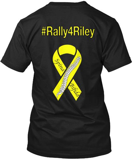 #Rally4riley Spina Bifida Black T-Shirt Back