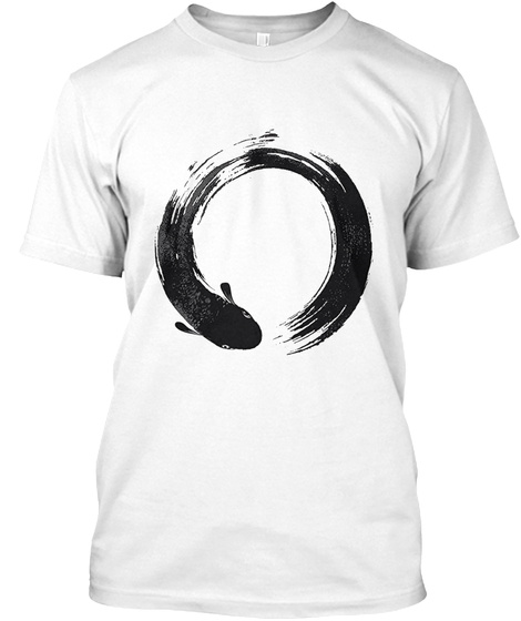 Fish In Enso Circle White T-Shirt Front