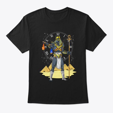 Wolf God Anubis Egyptian Mythology Black T-Shirt Front
