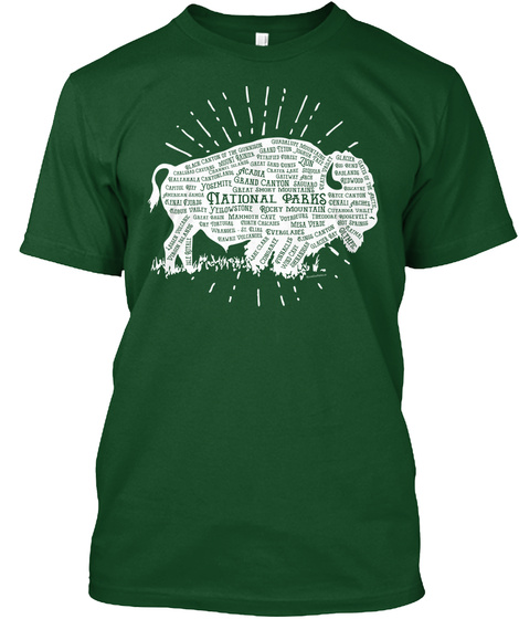 60 National Parks   American Bison Tee Deep Forest T-Shirt Front