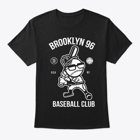 Brooklyn Baseball Cartoon Black T-Shirt Front