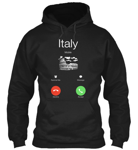 Italy Black T-Shirt Front