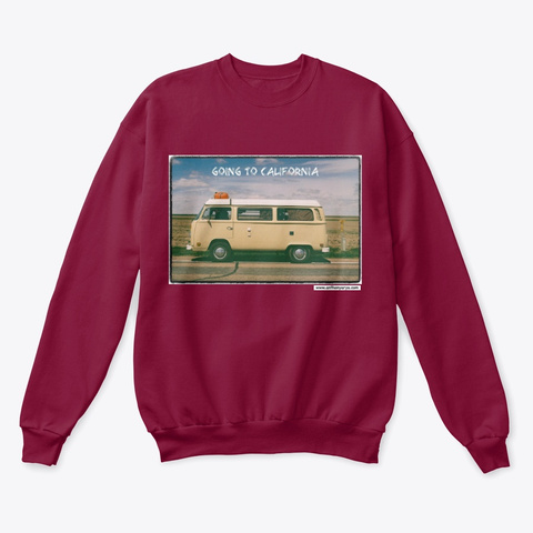"Crew Neck: ""Going To California"" Cardinal  T-Shirt Front"