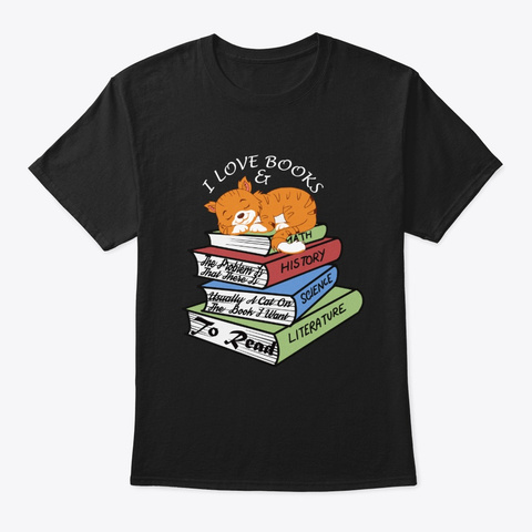 Books And Cats Lover Black Kaos Front