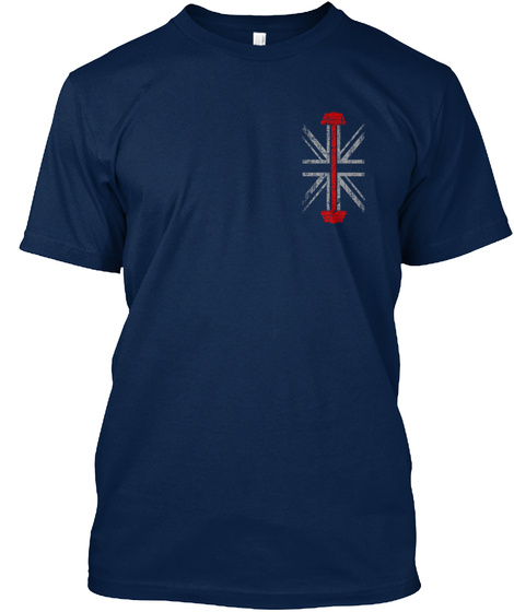 Weight Training   Uk Flag Navy T-Shirt Front