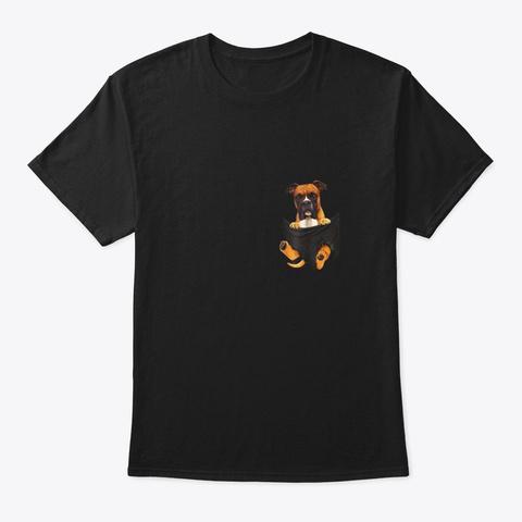 Boxer Inside Pocket Funny Lover Dog Black T-Shirt Front