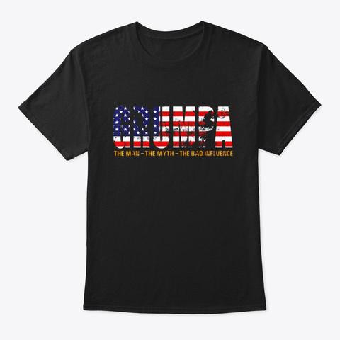 Veteran Grumpa The Man The Myth The Bad Black T-Shirt Front
