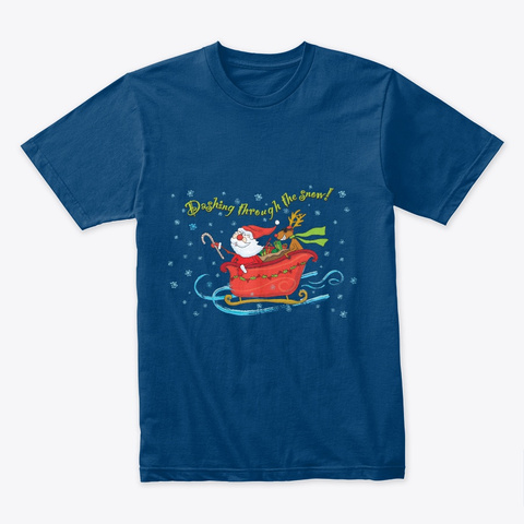 Santa Moose Sleigh Snow Cool Blue T-Shirt Front