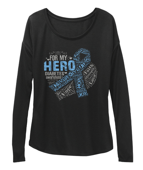 For My Hero Diabetes Awareness Never Give Up Hope Faith Joy Black T-Shirt Front
