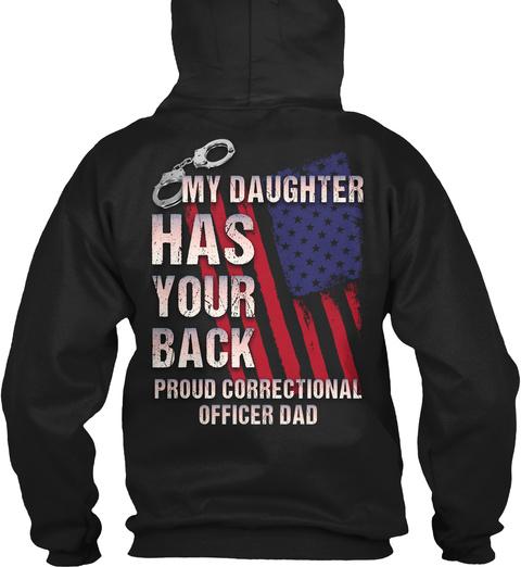 Proud Correctional Officer Dad Black T-Shirt Back