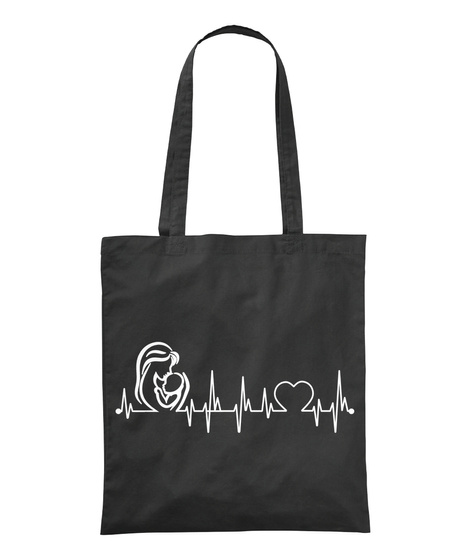 My Mother Always In My Heartbeat Black T-Shirt Front