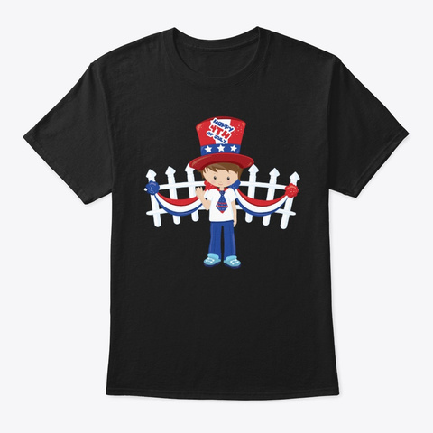 Happy 4th July Boy Kids Design Gift Red Black T-Shirt Front