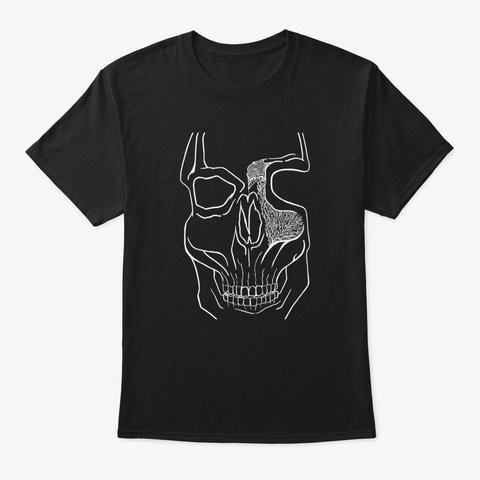 """""""Brains Brewing"""" Skull Design By Black T-Shirt Front"""