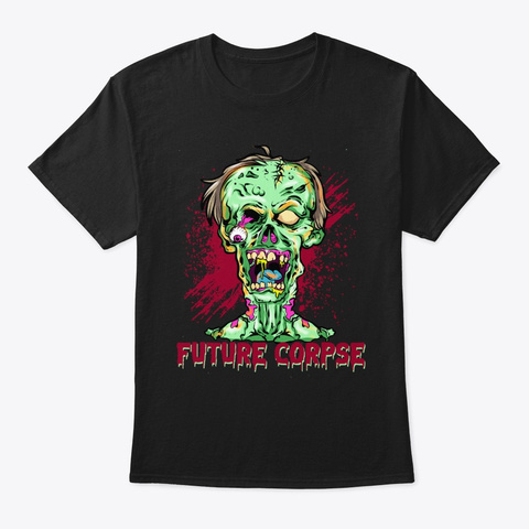 Future Corpse Horror Zombie Black T-Shirt Front