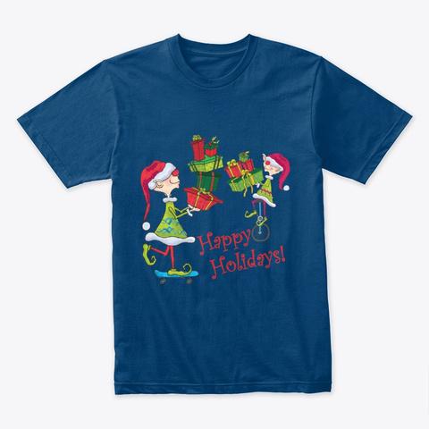 Elves Gifts Skateboard Cool Blue T-Shirt Front