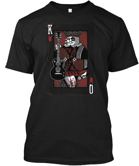 King Queen Rock And Roll Playing Card Black T-Shirt Front