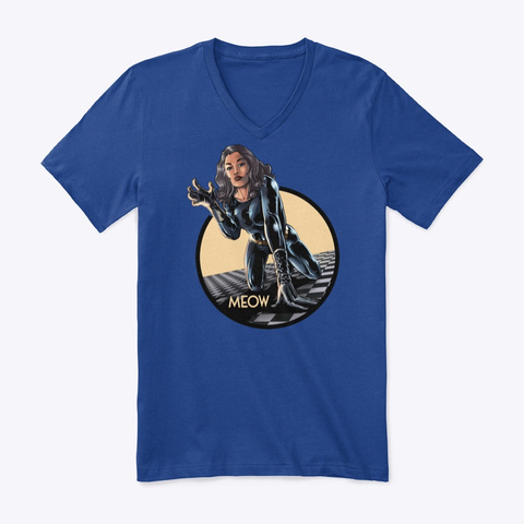 Meow The Cat Lady True Royal T-Shirt Front