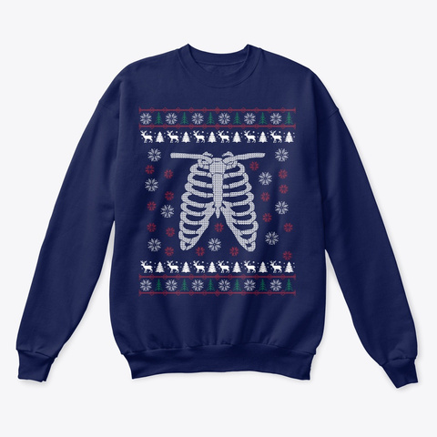 X Ray Tech Ugly Christmas Sweater Navy  T-Shirt Front