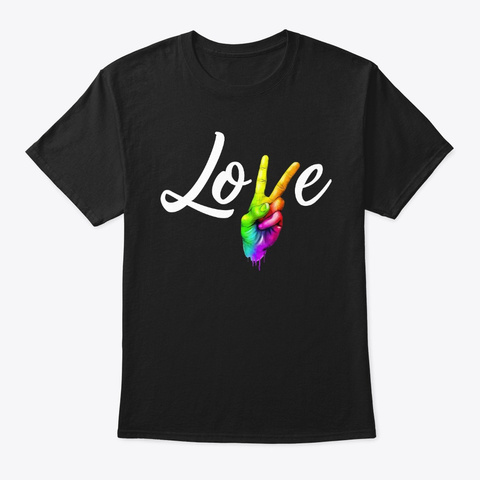 Mens Love Peace Sign Rainbow Gay Pride Black T-Shirt Front