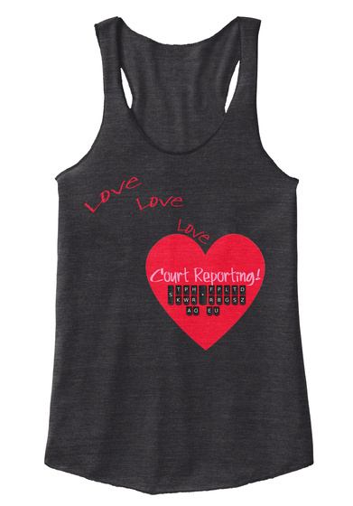 Love Love Love Court Reporting Eco Black T-Shirt Front