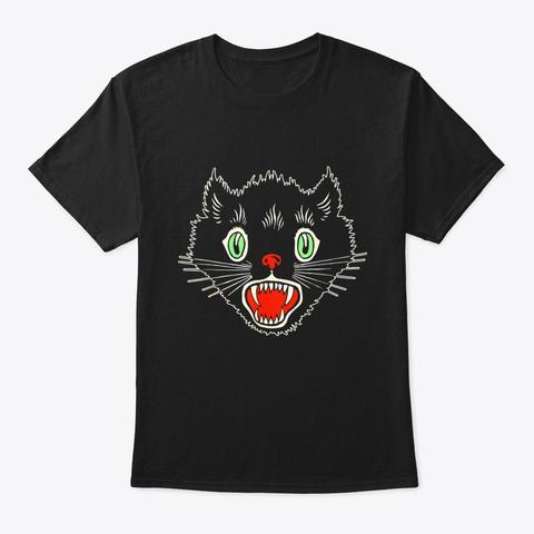 Vintage Halloween Scary Black Cat Horror Black T-Shirt Front