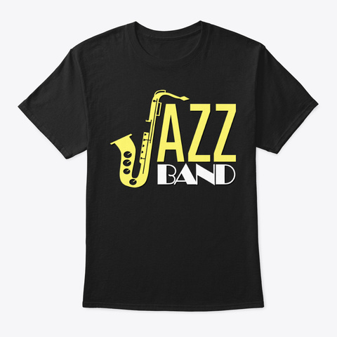 [Saxophone] Jazz Band Black T-Shirt Front
