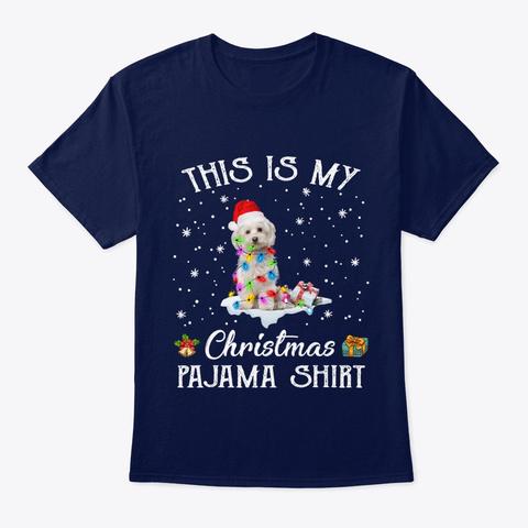 Maltese Dog Christmas Pajama Santa Hat Navy T-Shirt Front