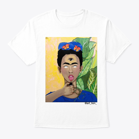 Frida In Blue. White T-Shirt Front