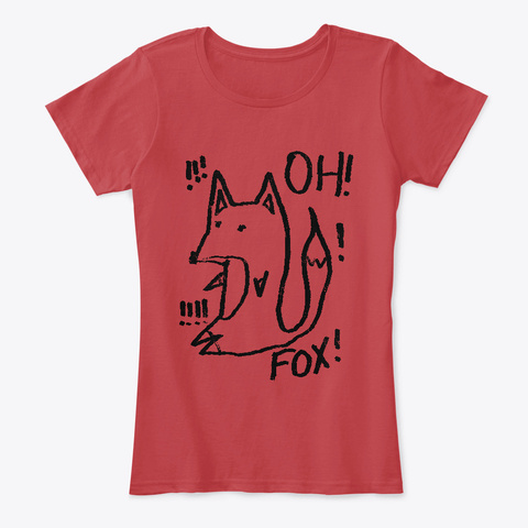 Oh! Fox!! (Black Ink) Classic Red Kaos Front