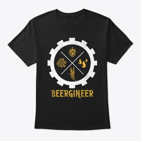 Beergineer Drinking Beer Brewer Engineer Black T-Shirt Front