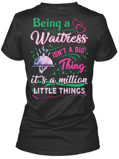 Awesome Waitress Black T-Shirt Back